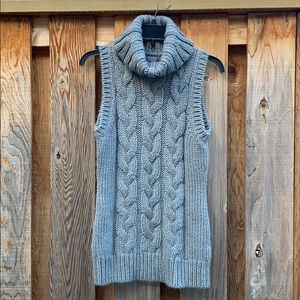 ESPRIT grey cable knit with cowl neck sweater vest